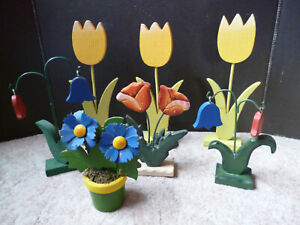 Blumen Holz Fensterdeko Tulpen Glockenblumen Frühling Ostern