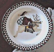 Debbie Mumm Sakura Salad Dessert Plate Santa's Spirit Reindeer Stoneware New
