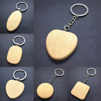 1PC Wooden Keyring Keychain Gift Bag Charm Tag Wood Key Ring Fob Personality
