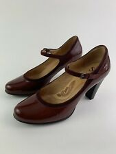 Sofft Mary Jane Ankle Strap Patent Leather Burgundy Pump Shoes Women's 10 M