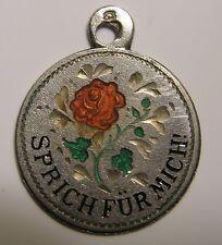 Antique Art Nouveau German Silver Enamel Rose Flower Rebus Charm ~ Speak for Me