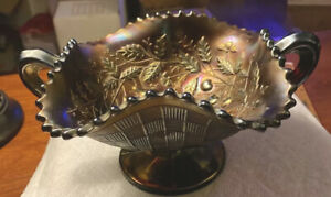 Vtg Northwood Cherry Pears Basketweave Amethyst Carnival Glass Bowl Handles