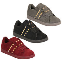 Ladies Suede Look Flat Trainers Womens Pumps Lace Up Studs Shoes Casual Fashion