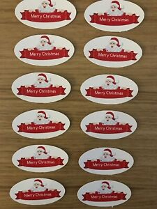 Card Toppers x 12 embellishments/toppers/card Making - Merry Christmas Santa
