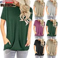 Women's Summer Short Sleeve Casual Blouse Tops Ladies Baggy Loose Tunic T-Shirt