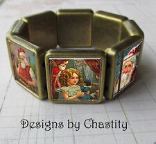 Christmas Morning Bracelet Antique Bronzed VTG Altered Art Santa Claus
