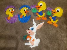 Vintage Melted Plastic Popcorn Easter Decorations Lot Bunny And Chicks