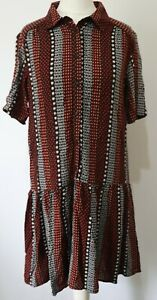 MANGO MNG CASUAL AZTEC SHORT SLEEVED BUTTON FRONT DRESS SIZE SMALL