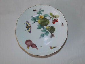 Small Vintage Plate Flowers & Insects Crossed Swords Meissen? 13.5cm