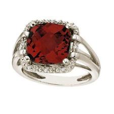 Right Hand Cocktail Ring 14k White Gold 8.05tcw Cushion Cut Red Garnet & Diamond