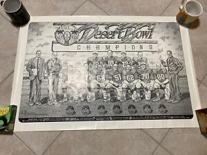 Al Davis 1991 Raiders Media Poster Desert Bowl Promo Desert Storm NFL WAR Art