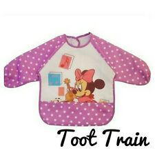 Toddler baby smock bib easy clean pink mini mouse winnie the pooh mickey
