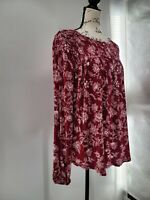 Knox Rose Womens Red Floral Long Sleeve Crew Neck Relaxed Blouse Top Small