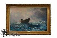 """""""Alone at Sea"""" by George J. Bleich 1976 Impressionist Oil Seascape Waves Boat"""