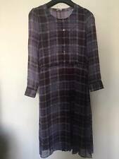 $488 Max&CO by max mara purple silk check dress with lace inner US2/UK6/F36/I38