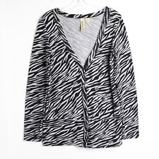 Eyeshadow zebra animal print cardigan long sleeve Top L large knit sweater