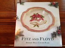 "Fitz & Floyd Christmas Holiday Bells Canape Plate 9"" W/Original Box"