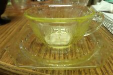 VINTAGE YELLOW DEPRESION/CARNIVAL CUP AND SAUCER OCTAGON