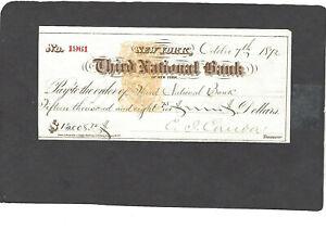 1872 THIRD NATIONAL BANK,NEW YORK,NY BANK CHECK-RN-B1