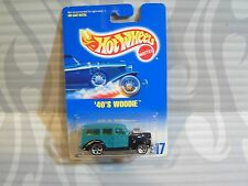 1992 HOT WHEELS #217 = `40s WOODIE = AQUA &  BLACK , 5 dot