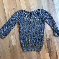 International Concepts INC Womens S Chevron blue Metallic keyhole neck Sweater