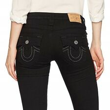 True Religion Women's Skinny Fit Black Jeans w/ Flap Pockets in Body Rinse