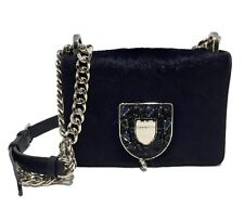 DIOR DIORAMA CLUB BAG IN NAVY CALF HAIR FINISH WITH JEWELS