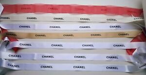 7 X Chanel white +gold+ red gift wrap decor ribbon different lengths Rare Set