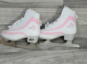 American Athletic Shoe Kids Boot Ice Skates - Pink & White Size 2 Youth