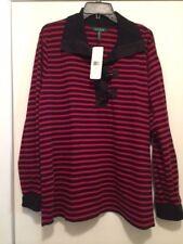 Lauren Ralph Lauren 2X Serape Red and Black Striped Collared Sweater Retails 105