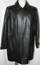 EDDIE BAUER PLUS SIZE LEATHER TRENCH COAT BLACK ZIP UP JACKET 2X 3X