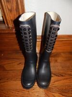 BCBG MaxAzria Military Black Studded Rubber Boots, Rain boots Wellies Size 8