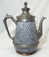 Old Antique GRANITEWARE Mottled Gray TEAPOT COFFEE POT Scalloped Top Pewter Trim