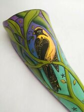 LG Studio Art Ceramic Wall Pocket Goldfinch Bird Leaves Turquoise Purple Signed