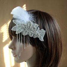 1920's FLAPPER WHITE FEATHER  Diamante  LEAF  CLIP FASCINATOR HEADDRESS WEDDING