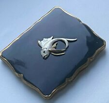 Fine Vintage Ladies Powder Compact - Stratton with Black Enamel & White Fish