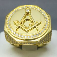 """9CT GOLD ON 925 SOLID STERLING SILVER CUBIC ZIRCON MASONIC RING SIZE """"Q""""  1938"""