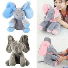 Peek-a-boo Music Elephant Baby Plush Toy Stuffed Animated Singing Doll Gift grey