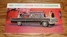 Original 1963 Chevrolet Chevy II Custom Feature Accessories Brochure Chevy 63