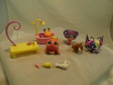 Lot of 5 Littlest Pet Shop Toys w/ Accessories LPS Spider Hermit Crab Hamster +