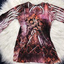 Apt 9 Womens Pink Orange M square neck Boho Tunic asymmetrical angled sleeves
