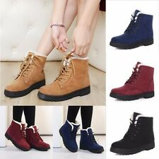 AU 2017 Winter Womens Fur Lined Boots Flat Lace Up Warm Snow Ankle Boots Shoes