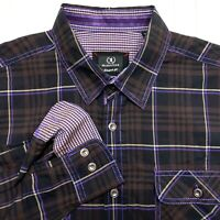 Bugatchi Uomo Standard Fit Brown Purple Plaid Button Up Shirt - Mens Large L