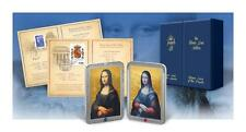 2012 Set of silver coins Mona Lisa with Gemstones RUBY & SAPPHIRE  1503 minted