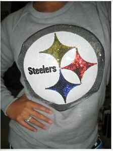 Victorias Secret Pink Pittsburgh Steelers Sweats Shirt X S M L Hoodie Crew BLING