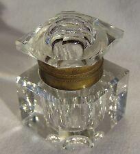 Unusual Victorian Hexagonal Cut Glass Inkwell w/ Hinged Lid