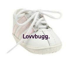 White w Pink Leather Tennis Sneakers for 18 inch Doll Shoes American Girl