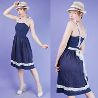 NAVY BLUE Vtg 40s Ruffle + Polka Dot SUMMER SUN Day DRESS XS/S
