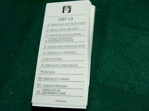 2009 SCATTERGORIES 48 CATEGORY CARDS     replacement pieces