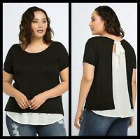 NWT Torrid Plus Size 3 3X Black/White Tie Back Sweater Top (#38)